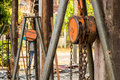 Chain hoist with a large wooden pole the Royalty Free Stock Photo