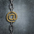 Chain link email d render of metal with gold symbol Stock Photography