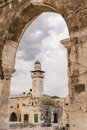 Chain Minaret Through Western Arcade Royalty Free Stock Photo