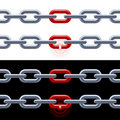 Chain with red link. Stock Photos