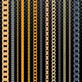 Chain vector pattern golden chainlet in line or metallic link of jewelry illustration set of chaining string and Royalty Free Stock Photo