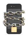 Chained and padlocked smartphone a wrapped in a metal chain secured with a brass padlock denoting internet seurity on an isolated Stock Image