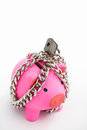 Chained piggy bank Royalty Free Stock Photo
