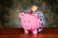 Chained piggybank Royalty Free Stock Photography