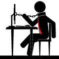 Chained to office a man is the desk it is a stick figure vector Royalty Free Stock Image