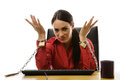 Chained to work businesswoman her office desk at Stock Image