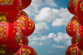 Chainese lanterns chainese new year chinese decoration against cloudy blue sky Royalty Free Stock Photo
