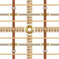 Chains and belts seamless pattern. Baroque ornament with braids and golden furniture. Vector buckles and embroidery