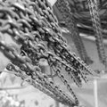 Chains black white with selective focus Royalty Free Stock Image
