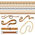 Chains and braids. Bracelets leather belts and golden furniture elements, ornamental jewellery set. Vector fabric and