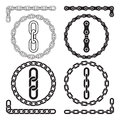 Chains. Vector illustration. Chain icons, parts, circles of chains