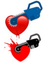 Chainsaw destroying a heart Royalty Free Stock Photography