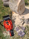 Chainsaw on ground near log and stump Royalty Free Stock Photos