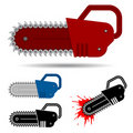 Chainsaw set with blood Royalty Free Stock Image