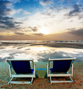 Chair at beach on twilight time Stock Image