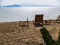 Chair beautifu on beach Royalty Free Stock Image