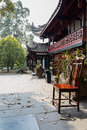 Chair before chinese ancient building a in front of wood structure buildings in chengdu china Royalty Free Stock Photo