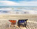 Chair at clean beach Royalty Free Stock Photos