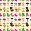 Chair furniture seamless pattern Stock Photos