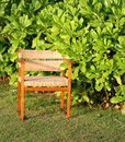 Chair on green bush wicker a sunny afternoon Royalty Free Stock Image