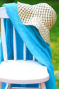 Chair with Hat and towel Royalty Free Stock Photos