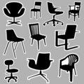 Chair icons vector Royalty Free Stock Photography