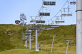 Chair lift on a ski lope in summer out of service tirol austria Stock Image