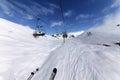 Chair lift at ski resort caucasus mountains georgia gudauri wide angle view Stock Photos