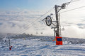 Chair lift on ski resort winter slovakia Royalty Free Stock Image