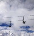 Chair lift wide angle view caucasus mountains georgia ski resort gudauri Royalty Free Stock Images