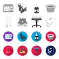 Chair on rollers, needles for tattoo and other equipment. Tattoo set collection icons in monochrome,flat style vector