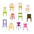 Chair set colorful illustration vector Royalty Free Stock Photos