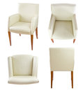 Chair set white leather vol clipping path included Stock Photography