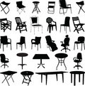 Chair and table silhouette vector Stock Image