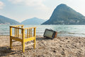 Chair and television vintage decor on the lake shore Royalty Free Stock Images