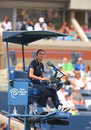 Chair umpire during first round match between venus williams and kirsten flipkens at us open new york august billie jean king Royalty Free Stock Photo