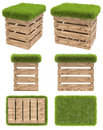 The chair of the wooden box or pallet with a seat of grass. Garden furniture. Top view, side view, front view, bottom view. Isolat Royalty Free Stock Photo