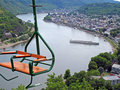Chairlift above river Royalty Free Stock Photo
