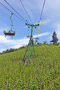 Chairlift above vineyard Royalty Free Stock Photos