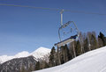 Chairlift in caucasian mountains at winter Stock Photography