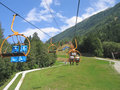 Chairlift in the Mountains Royalty Free Stock Image
