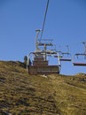 Chairlifts at Alpine ski resort in summer Stock Photos