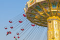 Chairoplane spinning on fun fair Royalty Free Stock Photo
