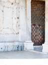 Chairs at Copper Door Entrance to Dome of the Rock Mosque Jerusa Royalty Free Stock Photo