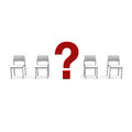 Chairs and a question mark Stock Images
