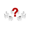 Chairs and a question mark Royalty Free Stock Photo