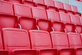 Chairs in the stadium new red and white Stock Photo