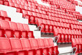 Chairs in the stadium new red and white Royalty Free Stock Photography
