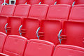 Chairs in the stadium new red and white Stock Photography