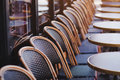 Chairs in street cafe in Europe Royalty Free Stock Photo
